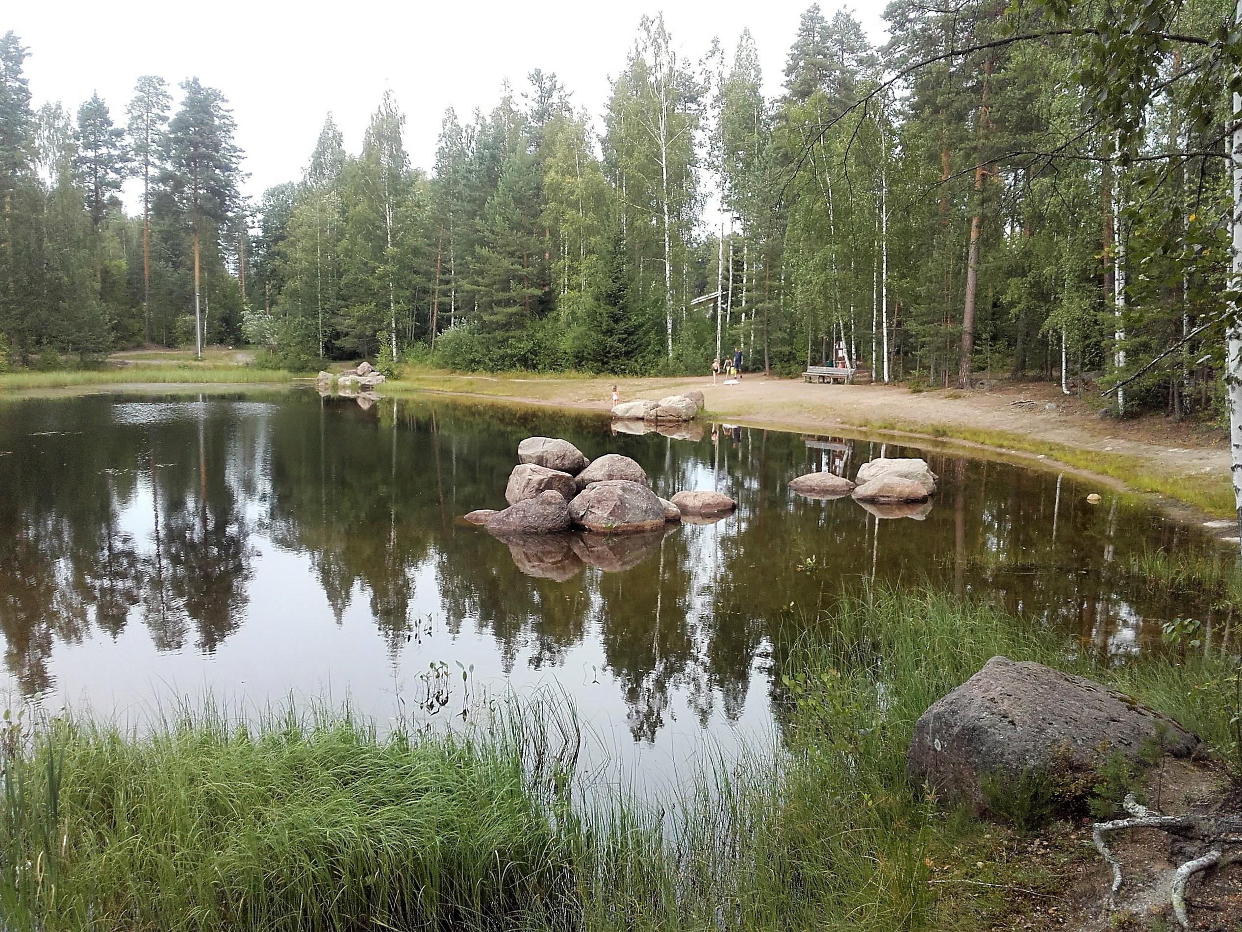 Metsän ympäröimä lampi. Lammessa ja sen rannalla isoja kiviä.