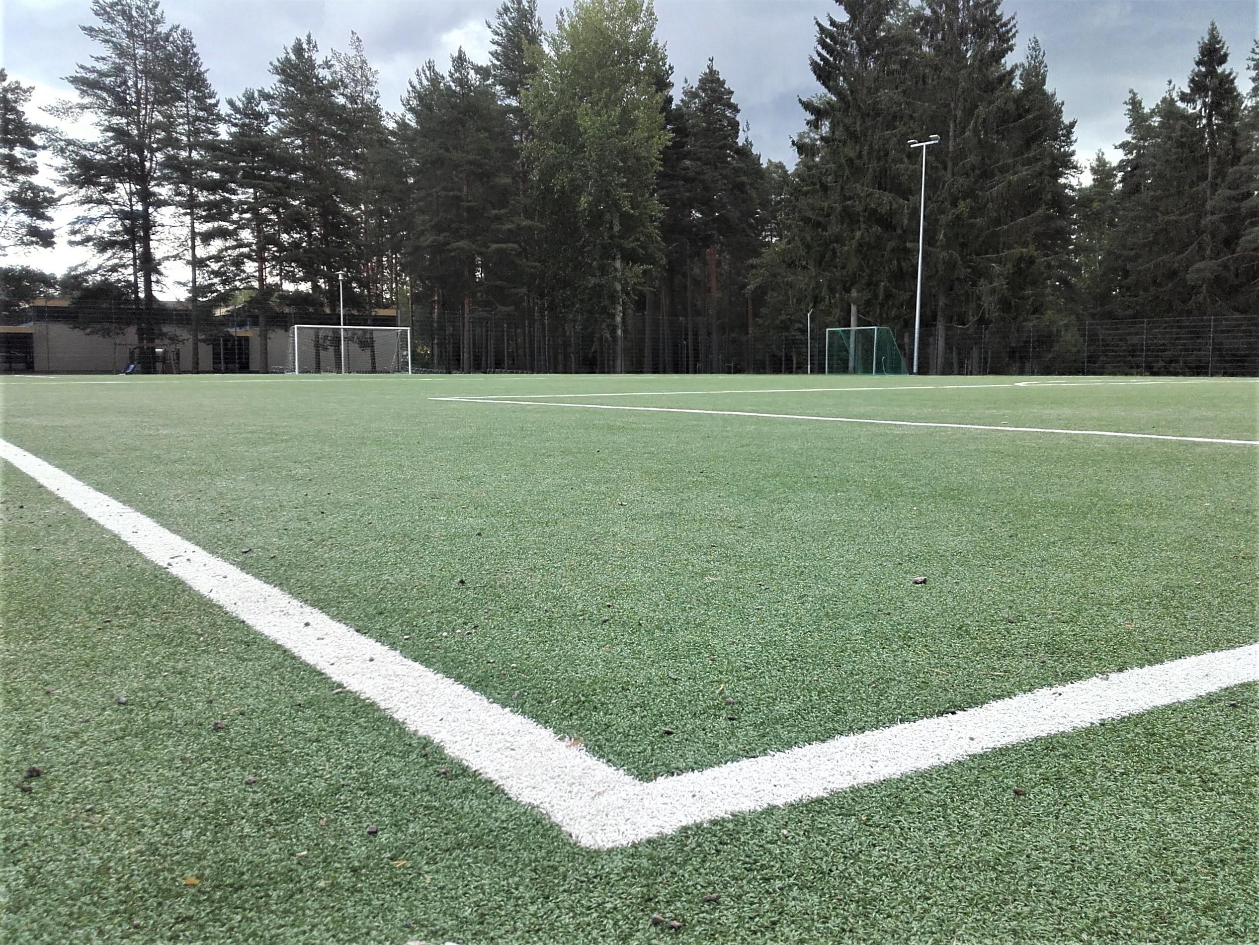 Tekonurmikenttä. Kentälle piirretty valkoiset pelikentän rajat. Kentän toisessa päässä jalkapallomaali. Kentän takana kasvaa puita.