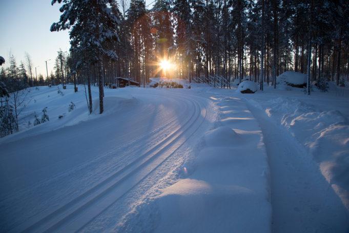 Auringonsäteet puiden takaa valaisevat Valkealan runsaslumisen hiihtoladun.