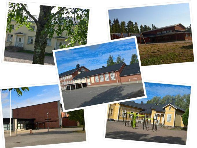 Viiden kuvan kollaasi Korian ja Napan koulurakennuksista