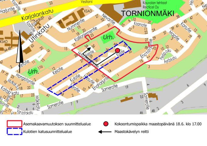 Kulotien asemakaavamuutoksen maastokatselmuksen kartta 18.6.2019