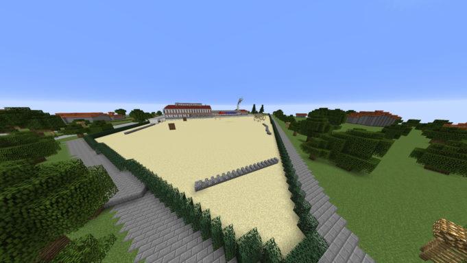 Minecraft-maailmaan viety koulu Kouvolassa.