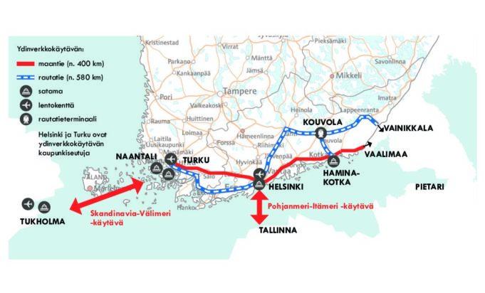 Kartta Etelä-Suomesta, jossa näkyy EU:n rahoittamat ydinverkkokäytävät: n. 400km pitkä Turku-Helsinki-Kouvola-Vainikkala rautatielinja sekä n. 580km pitkä Turku-Helsinki-Hamina-Kotka-Vaalimaa maantieyhteys. Lisäksi näkyy yhteydet Skandinavia-Välimeri -käytävään Tukholmaan ja Pohjanmeri-Itämeri -käytävään Tallinnaan.