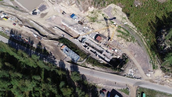 Ilmakuva Kimolan kanavan rakennustyömaasta.