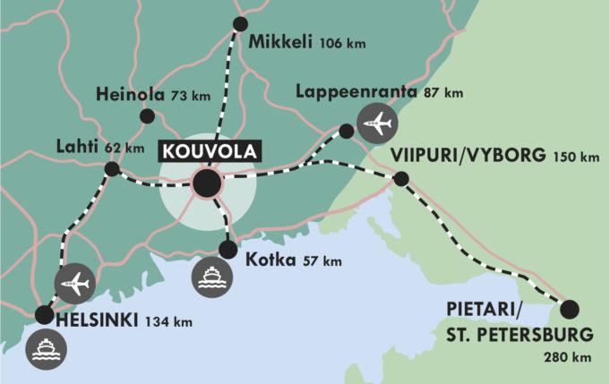Karttakuva Kouvolan sijannista kuuden päätien ja neljän rautatieyhteyden keskipisteenä.