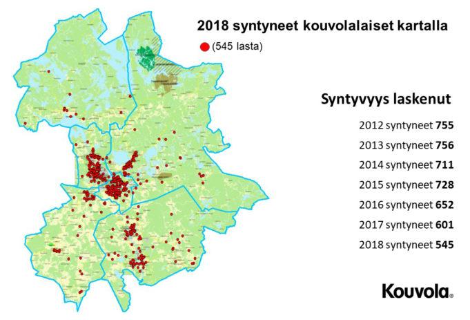 Karttaan on merkitty 2018 Kouvolassa syntyneet lapset.