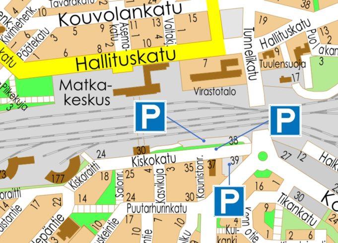 Kartta, jossa merkattuna kolme uutta pysäköintialuetta.