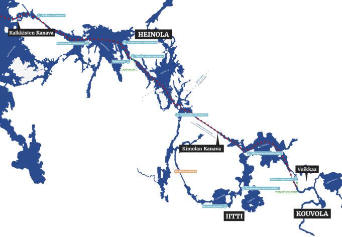 Karttakuva Kimolan kanavasta ja vesistöstä.