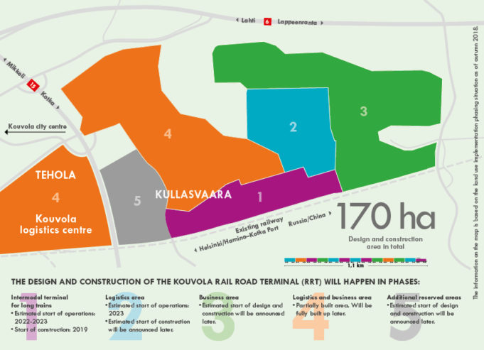 Kouvola Rail and Road Terminal logistics planned area map in phases