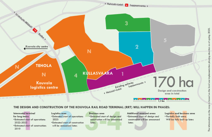 Kouvola RRT logistics area phases map. Kouvola RRT is constructed in five phases.