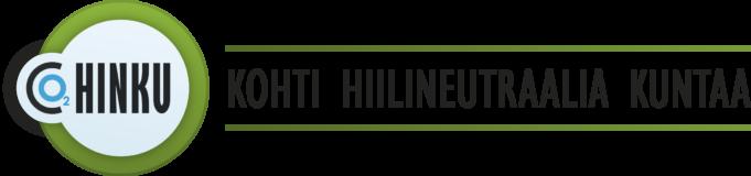 HINKU -logo, jossa teksti CO2 HINKU Kohti hiilineutraalia kuntaa