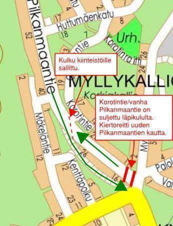 Kuvassa kartalla uudet liikennejärjestelyt