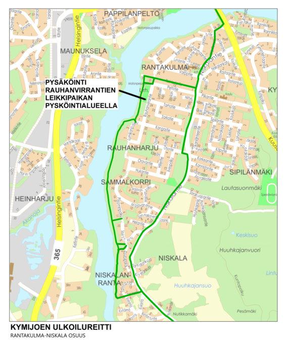Kymijoen ulkoilureitin Rantakulma-Niskala osuus, jossa pysäköintialue Rauhanvirrantien leikkipaikan pysäköintialueella.