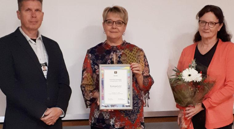 Työturvallisuus 2020 palkinto luovutettiin ruokapalvelupäällikkö Leena Multalalle