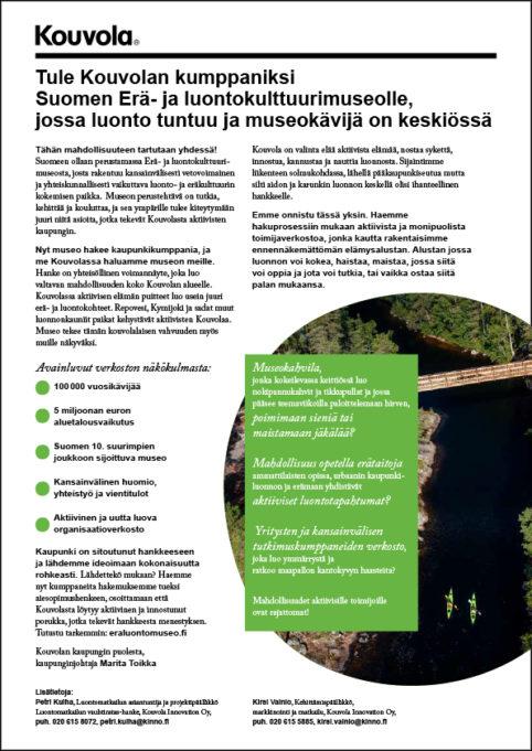 Siirry Kumppanuushaku: Erä- ja luontomuseo Kouvolaan -pdf-tiedostoon, 133 kt
