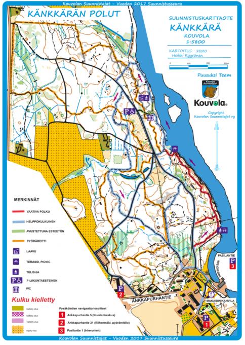 Kuvassa Känkkärän luontopolun kartta, jossa merkitty vaikea reitti punaisella, helppo reitti sinisellä , pyöräreitti oranssilla sekä avustettuna esteetön reitti vihreällä.