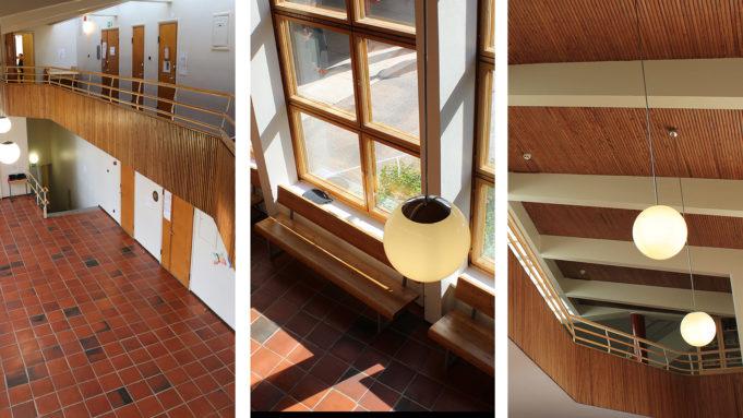 Yksityikjkohtia Tehtaanmäen koulun sisätiloista: kaiteet, kattorakenteet, lamput, lattia