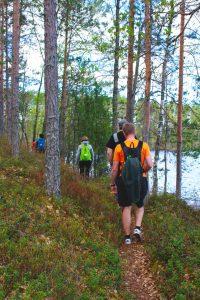 Kuvassa retkeilijöitä kävelee jonossa kuvaajan edellä polkua pitkin järven rannalla.