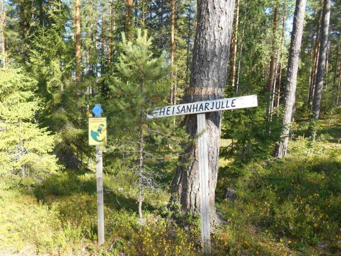 Kuvassa puinen kyltti metsässä puuta vasten. Kyltissä teksti Heisanharjulle.