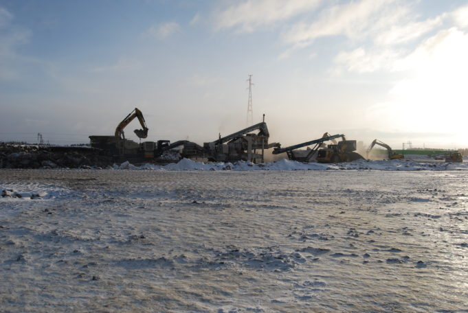 Louheen murskausta Kouvola RRT työmaalla helmikuussa 2021