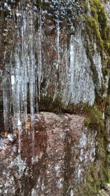 Kuvassa kallionseinämää, jossa on jäätä ja jääpuikkoja.
