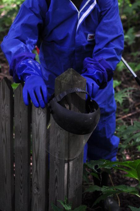 Kuvassa siniseen suojahaalariin ja kumihanskoihin pukeutunut henkilö. Suojavisiiri on asetettu aidan päähän.