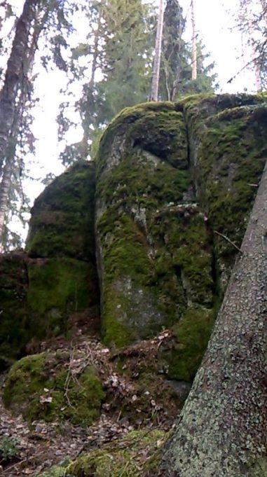 Kuvassa alhaalta päin kuvattu suuri kivilohkare, joka sammaleen peitossa. Taivas ja puita taustalla.