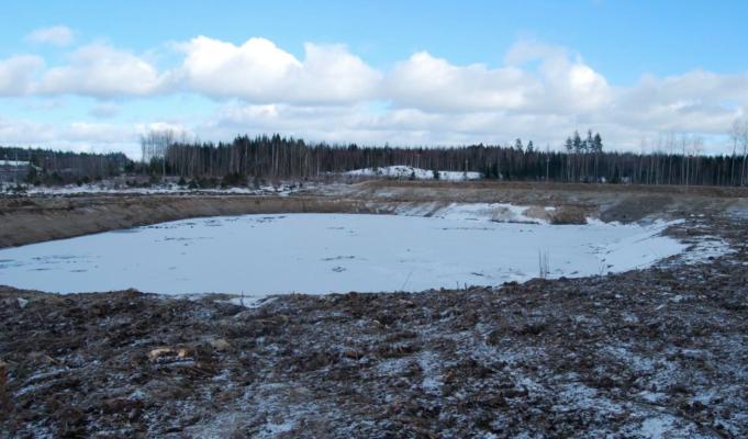 Radan eteläpuolisen hulevesialtaan esiallas, joka toimii öljynerotusaltaana.