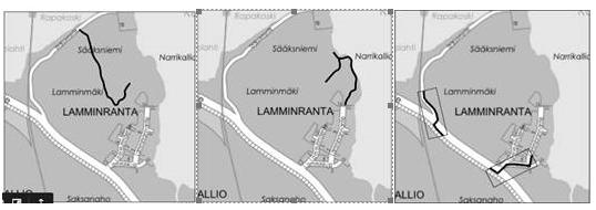 Kolme karttaa, jossa osoitetaan ulkoilureitin osat Lamminrannassa.