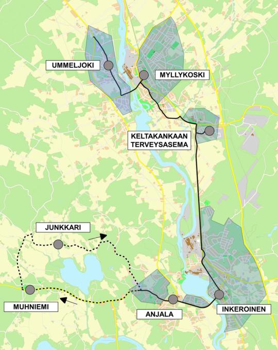 Anja-palvelulinjan reittikartta.