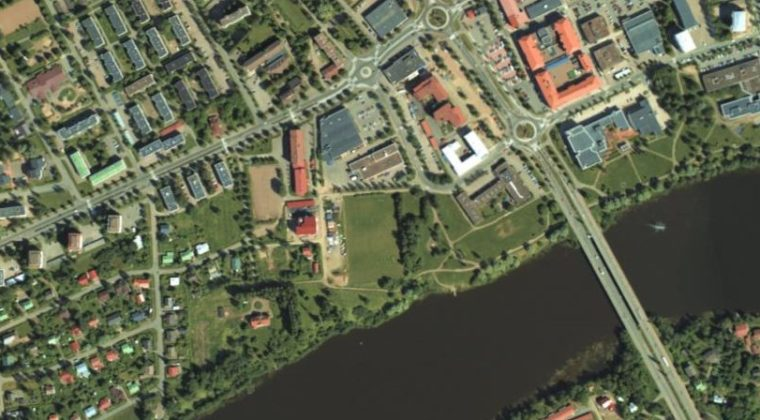 ilmakuva Kuusankosken ns. Pallokentän alueesta