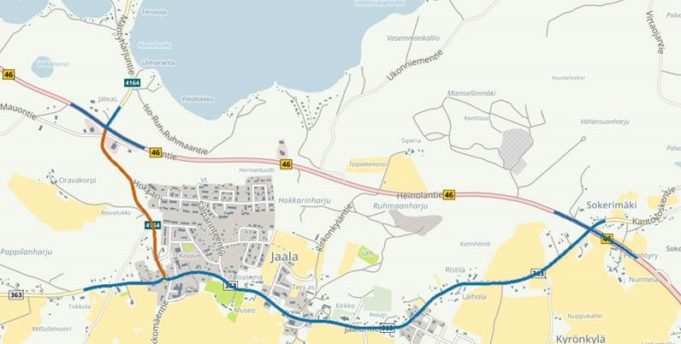ELY-keskuksen hallinnoimat maanteiden valaisinpylväät taajamien keskustojen läheisyydessä on merkitty karttaan sinisillä tieosuuksilla. Kaupungin hallinnassa olevat, valtion maanteillä olevat valaisinpylväät on esitetty punaisella värillä; näihin ei saa kiinnittää vaalimainoksia.
