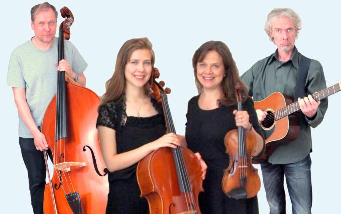 Hengellisen musiikin konsertin esiintyjät kuvassa soittimien kanssa.