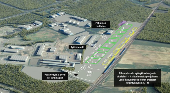 Kouvolan RR-terminaaliin tulevat alueet kuten portin ja pääreitit sekä lastausalueen vyöhykkeet.