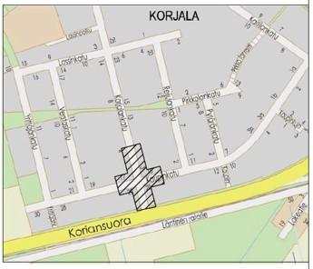 Kartta Korjalankadun ja Kaupinkadun risteyksen työmaa-alueesta
