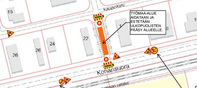 Karttakuva liikennemerkkien sijoittelusta - ei saavutettava