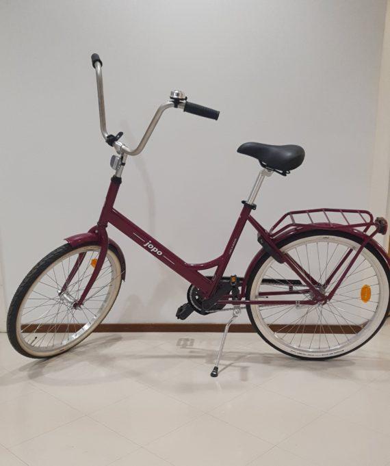 Viininpunainen Jopo polkupyörä.