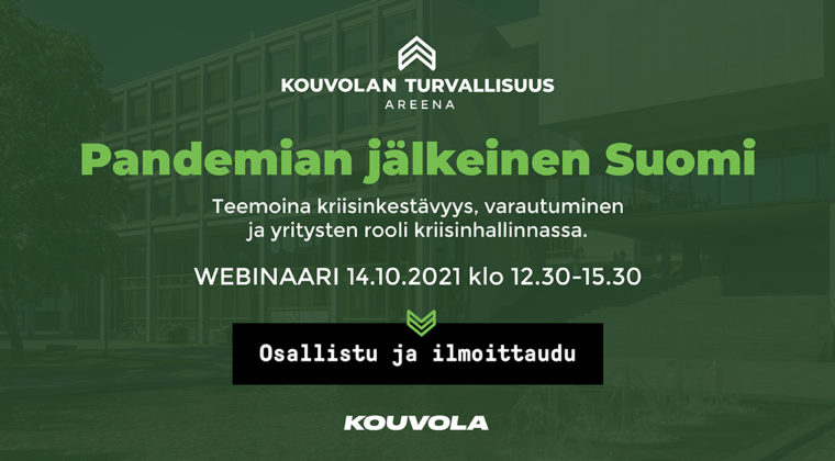 Kouvolan Turvallisuustapahtuma torstaina 14.10.2021 koostuu Turvallisuuskonferenssista klo 9.30 – 11.45 sekä avoimesta Turvallisuusareenasta klo 12.30-15.30. Lisätietoja ohjelmasta: kouvolanturvallisuus.fi.